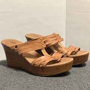 UGG Wedge Tan Brown Wood Wedge Slide Sandal 8